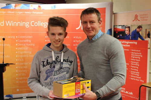 Tiling winner Jordan Hughes with Justin McNulty, Newry and Armagh MLA